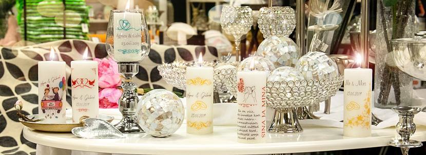 Võhma Valgusevabriku erilised pulmaküünlad ღ kingitused vanematele ja külalistele ღ tseremooniaküünlad ღ lauakunistused